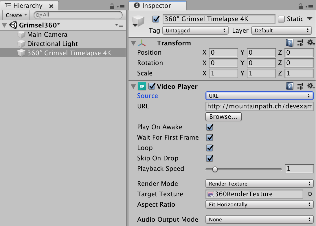 A B C  – Create a 360 video player with Unity 3D